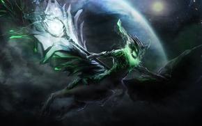 Картинка крылья, существо, арт, посох, Dota 2, Harbinger, Outworld Devourer, Cabulb