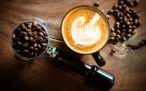 Картинка пена, узор, кофе, зерна, чашка, блюдце