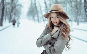 Картинка девушка, снег, шляпка, Россия, пальто, холодно, март, Георгий Чернядьев