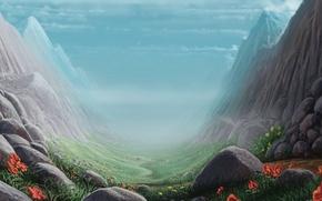 Обои трава, пейзаж, цветы, камни, скалы, арт, ущелье, тропинка