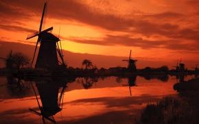 Картинка закат, река, мельницы