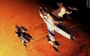 Картинка planet, spaceships, badger