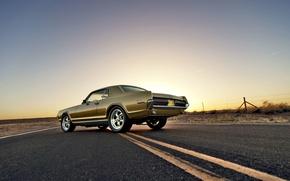 Картинка дорога, небо, забор, вечер, колеса, сзади, Cougar, 1967, задние фонари, Mercury