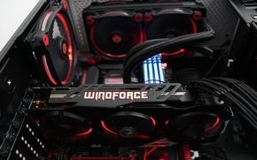 Картинка подсветка, железо, видеокарта, Hi-Tech, geforce, asus, системный блок, кулеры, windforce, геймера