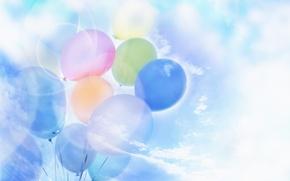 Картинка небо, облака, мечты, воздушные шары