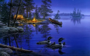 Картинка лес, ночь, природа, озеро, огонь, лодка, звезда, утки, звёзды, костер, палатка, живопись, костёр, night, lake, …