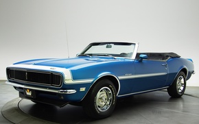Обои chevrolet, camaro, rs, 327, convertible, blue, car, синий