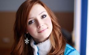 Картинка глаза, девушка, синий, улыбка, голубой, волосы, рыжая, красивая, серёжки