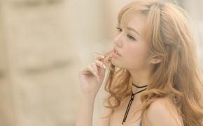 Картинка девушка, лицо, фон, волосы, азиатка