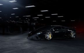 Картинка Lamborghini, Dark, Front, Black, Color, Supercar, Wheels, Garage, Huracan, LP610-4