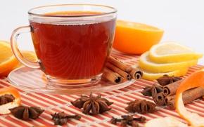 Обои лимон, чай, отражение, кожура, чашка, напиток, дольки, блюдце, бадьян, апельсин, корица