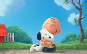 "Картинка puppy, dog, tree, boy, cartoon, friendship, friends, Charlie Brown, Beagle, Snoopy, ""Sniffy"", The Peanuts Movie, …"