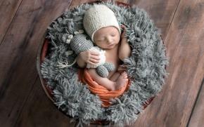 Обои фон, корзина, младенец