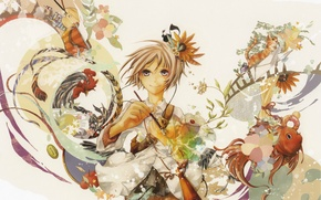 Картинка цветы, фантазия, волшебство, рыбка, девочка, палитра, кисть, тюбики, art, петух, Hachi Coshiro, котенок.