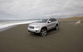 Картинка песок, побережье, Jeep, Grand Cherokee
