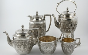 Картинка silver, tea service, Scottish tea set