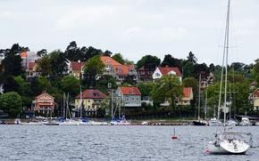 Картинка море, город, Швеция, Sweden, sea, гавань, town, harbour