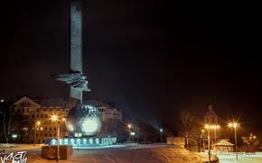 Обои Gagarin, снег, snow, Владимир Смит, Vladimir Smith, Калуга, Kaluga, city, шарик, город, ночь, night, Гагарин