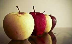 Картинка капли, отражение, яблоки, яблоко