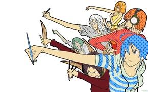 Картинка Bakuman, Akito Tacagi, Niidzuma Agee, Takuro Nakai, Yuriko Aoki, Mashiro Moritaka, Fukuda Shinta