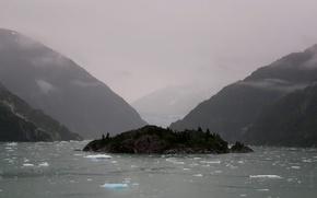 Обои лед, море, остров