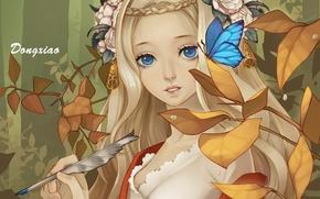 Обои листья, цветы, перо, бабочка, арт, девочка, dong xiao