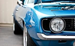 Обои синий, фара, Chevrolet, Camaro, шевроле, мускул кар, blue, muscle car, камаро