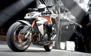 Обои скорость, размытость, мотоцикл, kawasaki z1000