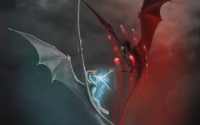 Картинка огонь, магия, молнии, драконы, арт, битва