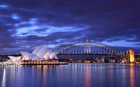Картинка море, небо, тучи, мост, огни, вечер, освещение, Австралия, залив, Сидней, синее, Опера Хаус