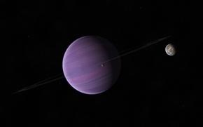 Картинка звезды, планета, кольца, спутники, газовый гигант