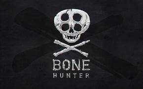 Картинка фон, черный, череп, кости, bone hunter