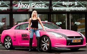 Картинка розовый, блондинка, Nissan GTR