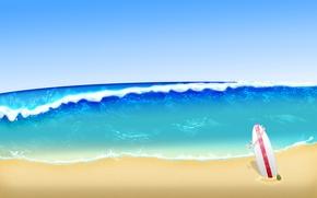 Картинка пляж, Море, дска, сэрфинг