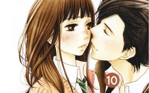 Картинка любовь, пара, галстук, румянец, art, школьники, почти поцелуй, kanae hazuki, yamato kurosawa, mei tachibana, say …
