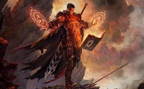 Картинка скалы, меч, доспехи, воин, книга, заклинание, метеориты, Арт