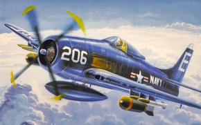 Картинка fighter, war, art, airplane, painting, aviation, attacker, F8F Bearcat