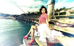 Картинка девушка, рыбалка, рыба, Pinup