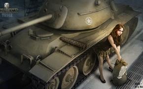 Картинка девушка, ангар, танк, girl, танки, WoT, Мир танков, tank, World of Tanks, tanks, Wargaming.Net, паттон, …