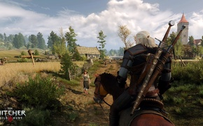 Картинка небо, деревья, лошадь, поля, ведьмак, Геральт из Ривии, The Witcher 3: Wild Hunt, Ведьмак 3: …