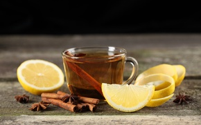 Картинка лимон, чай, чашка, корица
