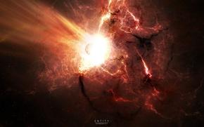 Картинка звезды, взрыв, вспышка, impact, катстрофа, раскаленный газ