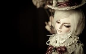 Картинка шляпа, кукла, кружева, парень, бант, doll, BJD