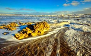 Картинка море, волны, камни, утро