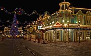 Картинка ночь, HDR, Калифорния, Новый год, США, Диснейленд, New Year, Анахайм