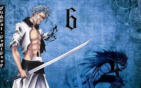 Картинка sword, game, Bleach, soldier, blue, anime, katana, man, predator, espada, fang, asian, manga, japanese, kimono, …