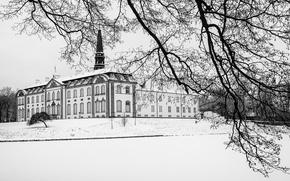 Картинка winter, snow, branch, Denmark, cloudy, Zealand, Axel Berg, Haslev, Neo-Rococo, Bregentved