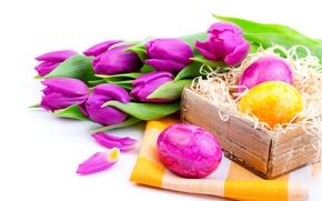 Картинка цветы, праздник, яйца, весна, Пасха, тюльпаны, сиреневые, пасхальные