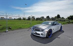 Картинка Небо, Облака, Авто, Самолет, Chevrolet, Серый, Camaro, передок, Magnet