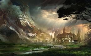 Обои тучи, горы, арт, дерево, птицы, дом, небо, облака